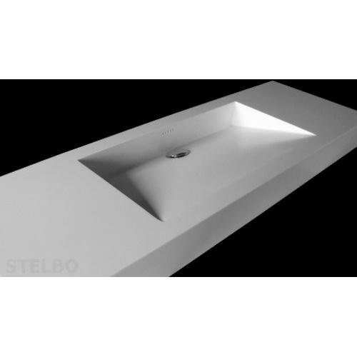 Meget Hvid Corian håndvask med skrå bund og skjult afløb. LW19